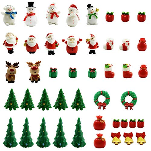 Iceyyyy Mini Resin Christmas Ornaments Kit - 45 Pcs Resin Micro Christmas Landscape Ornament Decoration Mini Christmas Theme Resin Miniature Ornaments Pendant for Christmas Party Decorations