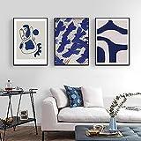 HUANGXLL Moderno Abstracto decoración del hogar Lienzo Arte Pintura Matisse Carteles Azules Palabras en inglés impresión Imagen de Pared para Sala de estar-50x70cmx3-sin Marco