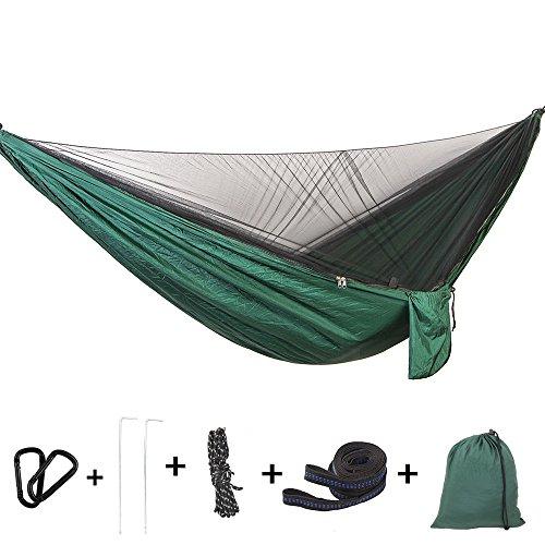 Bwiv Hamaca Ultraligera para Viaje y Camping Hamacas Colgantes Mosquiteras de Nylon Portátil Paracaídas Secado Rápido para Excursión Jardín de Carga 300 KG 290×140cm Verde Oscuro