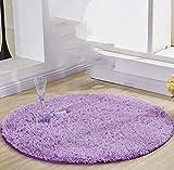 Excelente Piel sintética de Calidad Alfombra de Lana,Elegante De Pelo Largo Mullida Alfombra,Alfombra de felpa simple para sala de estar, alfombra redonda antideslizante súper suave, lila de 60 cm