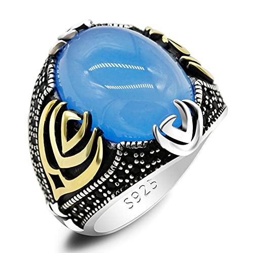 ZiFei Gran Anillo de Piedra de Ágata Azul para Hombres Plata de Ley 925 Mano de Dios Anillos Masculinos de Piedras Preciosas Vintage Turco Hecho A Mano Regalo de Joyería,8