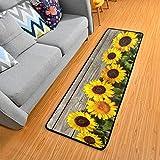Hallway Runner Rug Rubber Backing - Sunflowers Wooden Runner Rug for...