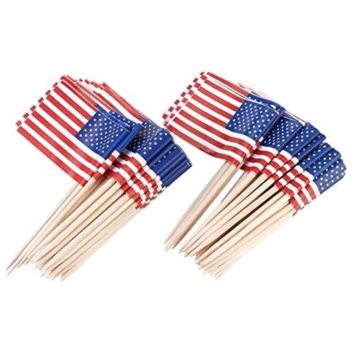 Amosfun 100 unids Bandera Americana Palo Bandera Pastel Topper decoración Partido Magdalena selecciones palillo Bandera Cena Banderas Pastel Toppers Decoraciones