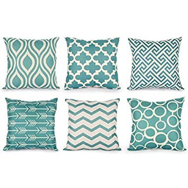 Top Finel Durable Cotton Linen Square Decorative Throw Pillows Cushion Covers Cases Pillowcases For Sofa 18 x18 inch Set of 6 -Series