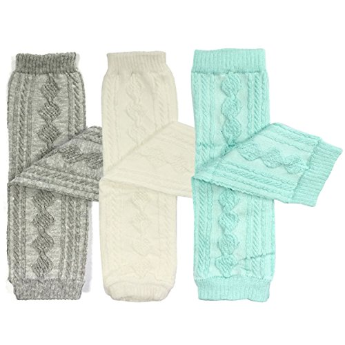 Bowbear Set of 3 Leg Warmers Argyle Grey & White and Sky Blue