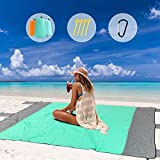 ZAZE Beach Blanket Sandproof Oversized, 82''x82''Extra Large Thick Windproof Waterproof for 4-6 Adults Sand Free Picnic Blankets, Sandless Lightweight Outdoor Mat for Vacation, Travel, Camping, Hiking
