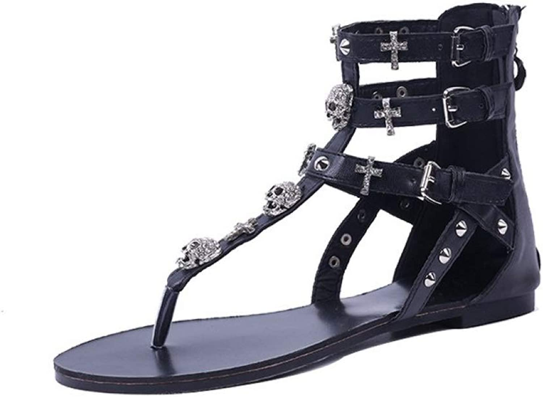 JOYBI Women's Flat Thongs Sandals Rivets Rhinestone Clip Toe Ankle Buckle Strap Back Zipper Flip Flops Flats
