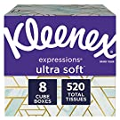 Kleenex Expressions Ultra Soft Facial Tissues, 8 Cube Boxes, 65 Tissues per Box (520 Tissues Total)
