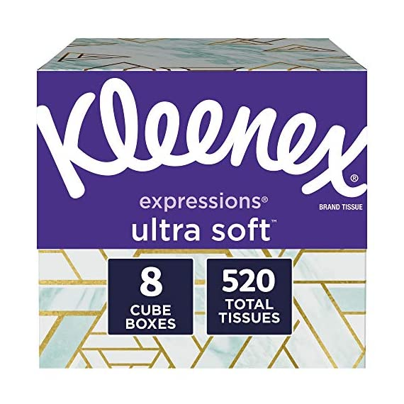 Kleenex-Expressions-Ultra-Soft-Facial-Tissues-8-Cube-Boxes-65-Tissues-per-Box-520-Tissues-Total