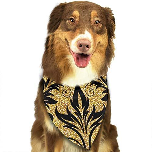 Bloemen Gouden Decoratie Modieuze Moderne Behang Rijk Aangepaste Hond Kattenhalsdoek Set Geschikt voor Kleine tot Grote Hond Katten