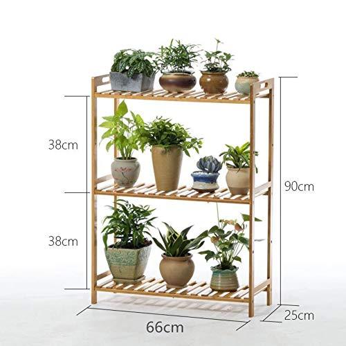 KELE Multi-layer massief hout bamboe bloemenrek, plantenrek, woonkamer indoor vloer plooien bloemenrek van hout voor binnen