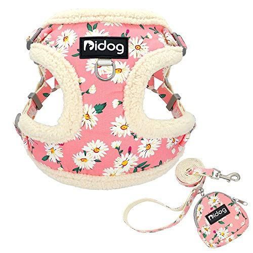 Didog Soft/Cosy Fleece Dog Vest Harness and Leash Set with Cute Bags,No Pull Escape Proof Puppy Harness,Cute Daisy Pattern/Back Openable,Fit Walking Small Dogs,Cats,Pink,Small Size
