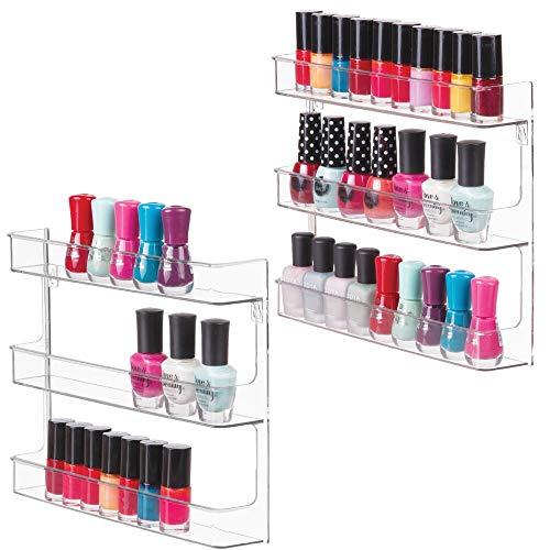 mDesign Juego de 2 estantes para esmaltes de uñas para la pared – Organizador de cosméticos para el tocador o muebles del baño – Perfectos estantes de pared para esmaltes de uñas – transparente