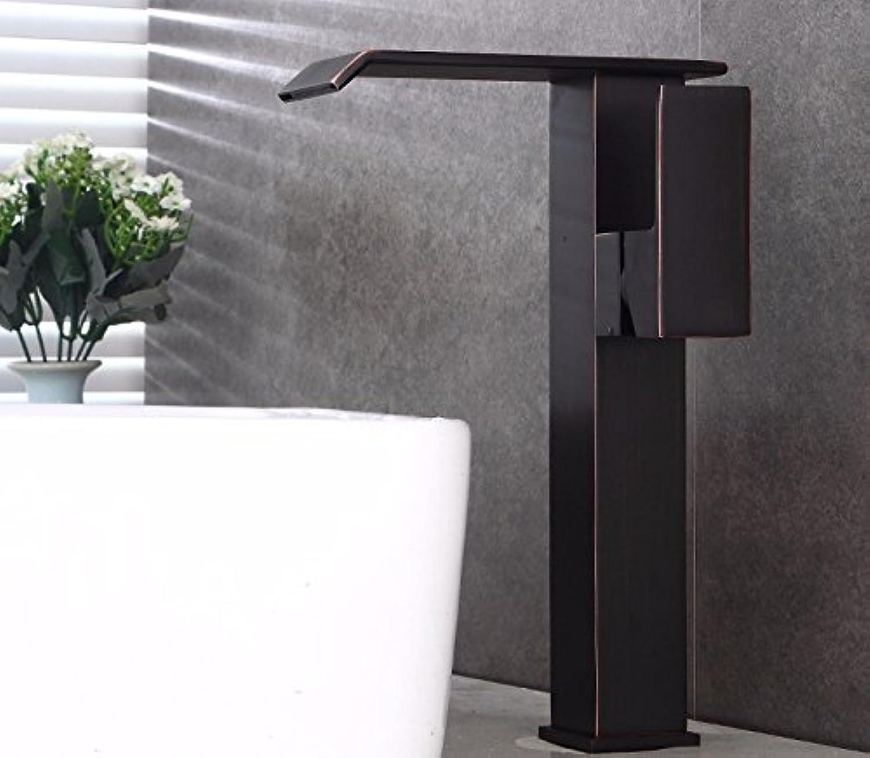 Bathroom taps SCLOTHS SCLOTHS Badezimmer Waschtischarmatur Moderne Retro Style Schwarz Wasserfall Einloch Heien und Kalten Badezimmer Badezimmer Waschbecken
