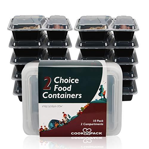 COOK & PACK Robuste Meal Prep Box mit 2 Fächern und genau passendem Deckel, 10 Wieder verwendbare Dosen für die Aufbewahrung von Lebensmitteln, 1L