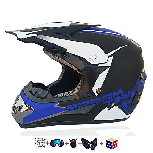 Casco Moto niño,Casco Motocross niño Moto Set con Gafas/Máscara/Guantes Casco Motocross (6unidades) Apto para Cuatro Estaciones (59-60CM)