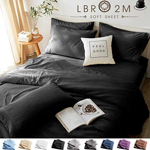 LBRO2M Bed Sheets Set Queen Size 6 Piece 16 Inches Deep Pocket 1800 Thread Count 100% Microfiber Sheet,Bedding Super Soft Hypoallergenic Breathable,Resistant Fade Wrinkle Cool Warm (Black)