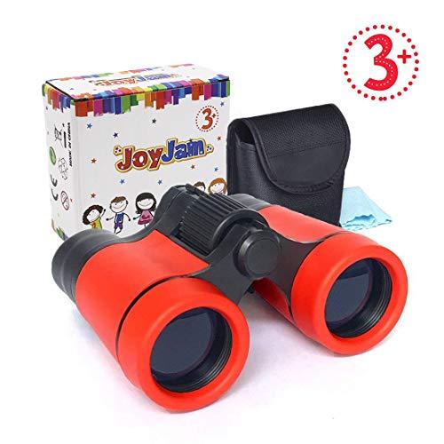 Regalos para Niño de 8-10 años, Joy-Jam Mini Compacto Binoculares para Niños, Juguetes Educativos 4x30mm Bolsillo Binoculares Plegables Rojo Regalos de Cumpleanos Navidad
