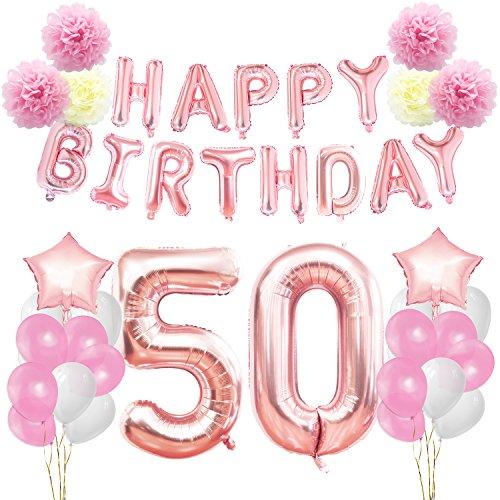 KUNGYO Decoraciones de Feliz Cumpleaños 50 Oro Rosa Happy Birthday Bandera Gigante Número 50 y Estrella de Helio Globos Cintas Flores de Papel Pom Globos de látex
