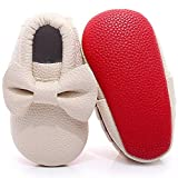 HONGTEYA Baby Girls Boys Shoes - Light Weight Soft Sole Shoes for Toddlers/Cribs/Child (14.5cm 18-24 months 5.71inch, Bow-begie)