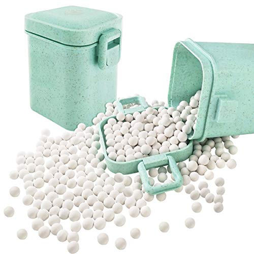 Ceramic Baking Beads Pie Weights Reusable 10mm Natural Pie Beads Ceramic Stoneware with Wheat Straw Container 35 Oz Total (2.2Lb 1000g) (Green)