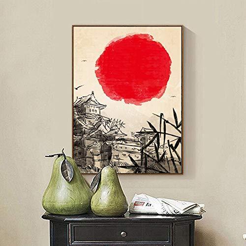 Geiqianjiumai Japanse stijl kunstdruk toren schilderij wandbehang poster afbeelding woonkamer decoratie frameloos schilderwerk