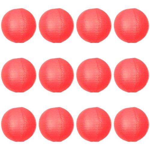 Paper lanterns UK Lot de 12 suspensions rondes en papier type lampion avec structure en fil de fer Rouge 30 cm