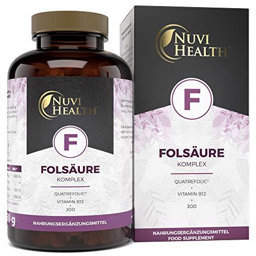 Folsäure Komplex - 240 Tabletten (8 Monatsvorrat) - Hochdosiert mit 800 μg Folat (Quatrefolic®) + natürliches Jod + Vitamin B12 - Mit 5-MTHF dem höchst bioverfügbarem Vitamin B9 - Laborgeprüft - Vegan