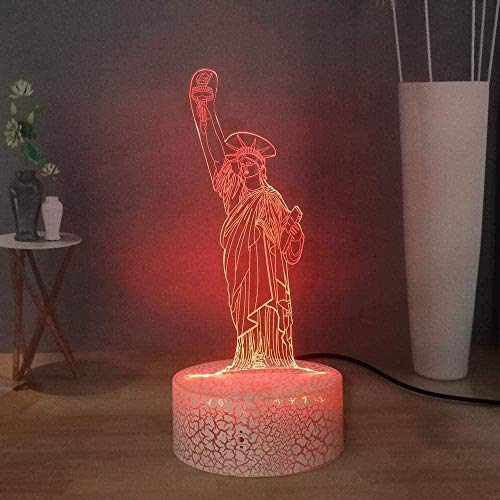 BTEVX 3D Illusion Lamp LED Night Light Creative Cartoon Statue of Liberty USB Colorful Remote Control Table Lamp Kids Birthday Party Gifts