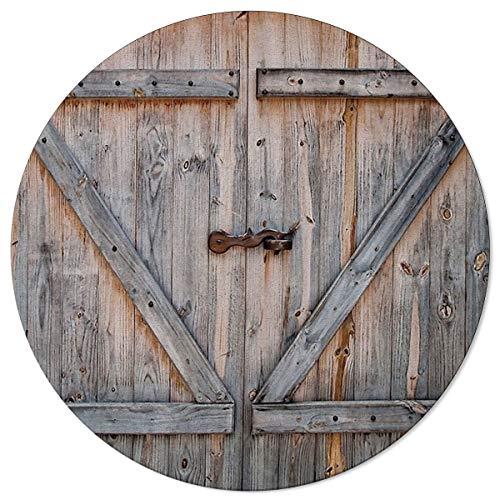 SunnyM Runde Teppiche rustikale Landhaus-Tür, weiche Innenräume, Wohnzimmer, Schlafzimmer, Kinderspielzimmer, Küche, rutschfeste Gummiunterseite, Yoga-Teppiche, Wood Grain3s7698, 6'x6'
