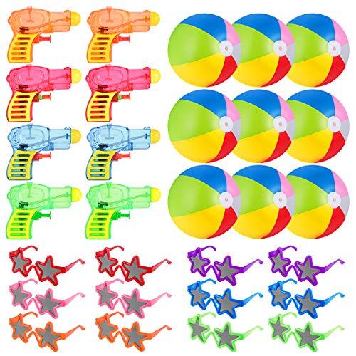 Toyvian Juguetes acuáticos de verano, 12 minipistolas de agua, 12 gafas de sol, 10 bolas de agua, regalo para niños