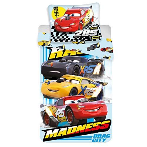 Jerry Disney Cars Parure de lit Housse de Couette 140 x 200 cm et sa taie d'oreiller 70 x 90 cm 100% Coton