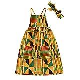 JEELLIGULAR Toddler Baby Girls African Dresses Ethnic Attire Dashiki Print Black Splice Dress Boho Clothes (Long Dress, 3T)