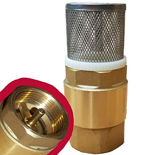 1 Zoll Fußventil mit Rückschlagventil und VA Saugkorb für Saugschlauch ----- Fussventil geeignet für Gartenpumpe, Schwengelpumpe, Jetpumpe ----- Qualitäts Ventil mit Messingklappe