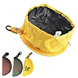 CROMI Oxford Fabric Collapsible Travel Pets Food & Water Feeding Bowls for Dogs Cats (Yellow, Model 2)