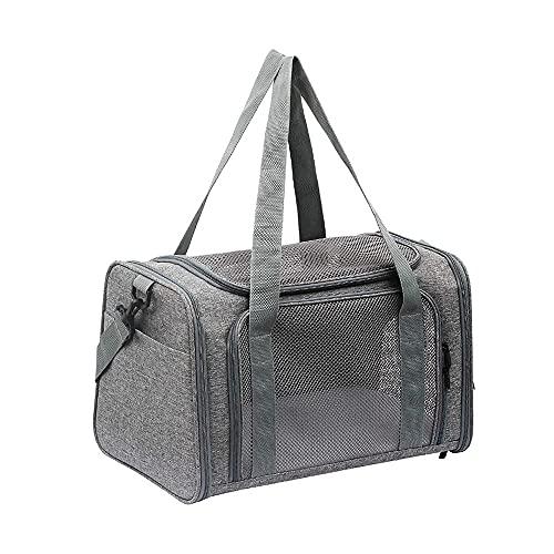 MH-RING Bolsa de Transporte para Mascotas, Bolsa de Viaje para Animales Pequeños, Caja de Transporte Ventilada de Varios Lados de Malla con Tragaluz Abierto, Jaula para Gatos, Mochila (Color : Grey)