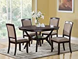 Coaster Rounded Square Dining Table with Shelf in Cappuccino Finish
