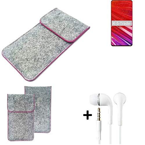 K-S-Trade Filz Schutz Hülle Für Lenovo Z5 Pro GT Schutzhülle Filztasche Pouch Tasche Hülle Sleeve Handyhülle Filzhülle Hellgrau Pinker Rand + Kopfhörer
