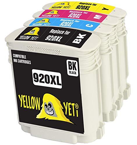 Yellow Yeti Reemplazo para HP 920 920XL Cartuchos de Tinta compatibles con HP OfficeJet 6000 6500 6500A 7000 7500A (1 Negro + 1 Cian + 1 Magenta + 1 Amarillo)