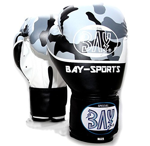 BAY® Camouflage Boxhandschuhe 12 Unzen Box-Handschuhe Leder PU Bundeswehr Militär Military Army Urman schwarz weiß Tarnfarbe Kickboxen Kick Boxen Boxing MMA Muay Thai Thaiboxen (12 Unzen)