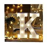 ODJOY-FAN 26 Englisch Brief Licht LED Letter Light Alphabet LED Beleuchtung Licht Oben Weiß Kunststoff Briefe Stehen Hängend A-M Wohnaccessoires Lichter Zubehör (K,1 PC)