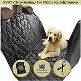 Funda de asiento de coche para perro con dos aberturas de velcro central para uso en el cinturón de seguridad central o superior del hombro, ideal para niños, maletero, hamaca de perro.