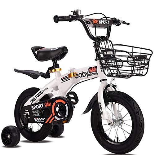 FYLY-12 Bicicletas Niños Pulgadas con Luz Intermitente Rueda Auxiliar, Plegable Bicicleta con Coaster Freno y La Cesta, para 2-4 Años de Edad Las Niñas y Los Niños de Los Muchachos,Blanco