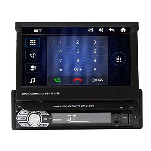 prettygood7 Waterdichte monitor, 7 inch HD touchscreen, draagbare dvd-speler met extra scherm, MP3-speler, functie, audio handen vrij bluetooth, autoradio, USB, TF/AUX zonder GPS-navigatie