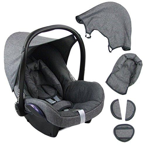 BAMBINIWELT Ersatzbezug für Maxi-Cosi CabrioFix 6-tlg. GRAU/GRAU, Bezug für Babyschale, Komplett-Set XX