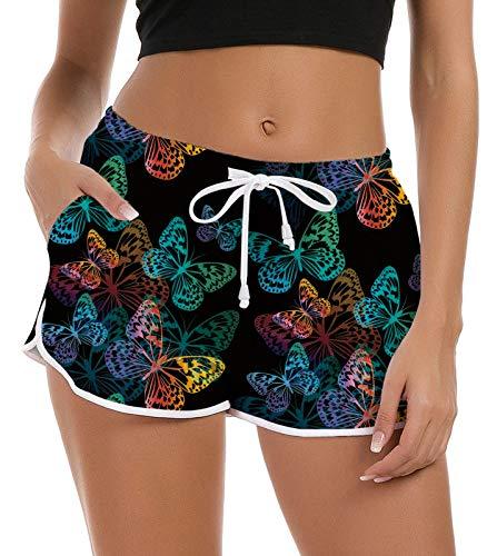 Fanient Frauen Damen Mädchen Sommer Boardshorts 3D Ananas Muster Schnell Trocknend Verstellbarer Kordelzug Shorts Schlaf Pyjama Shorts Laufen Activewear Yoga Sporthosen S