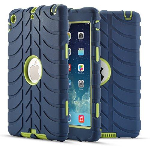 Dteck(TM) Schutzhülle für iPad Mini/Mini Retina/Mini 3, ultradünn, leicht, PU-Leder, mit Standfunktion, automatische Wake/Sleep-Funktion, für Apple iPad Mini 3/2/1 D_marineblau+gelb