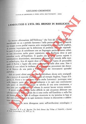 L'Eneolitico e l'Eta' del Bronzo in Basilicata.