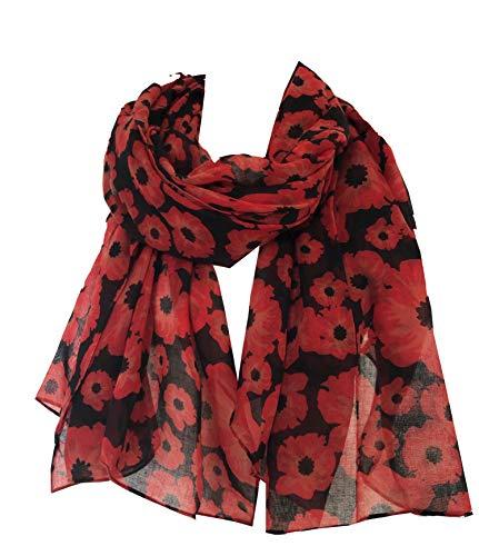 Pamper Yourself Now Schwarz gefärbte kleine Mohnblumenentwurf Langen Schal, Weiche Damenmode London (Black small Poppy Scarf)