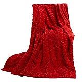 CelinaTex Florenza Kuscheldecke XXL 200 x 220 cm rot Mikrofaser Tagesdecke kuschelig Flauschige Sofadecke Couchdecke